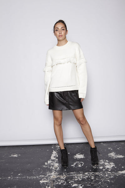 One O Eight - Round-neck Jumper with tassel fringing