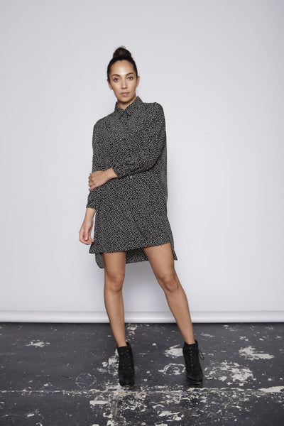 One O Eight - Mini Polka Dot Oversized Shirt Dress