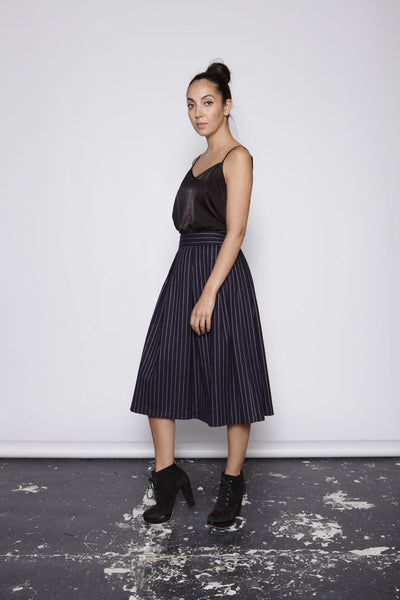 One O Eight - Pinstriped Midi Skirt
