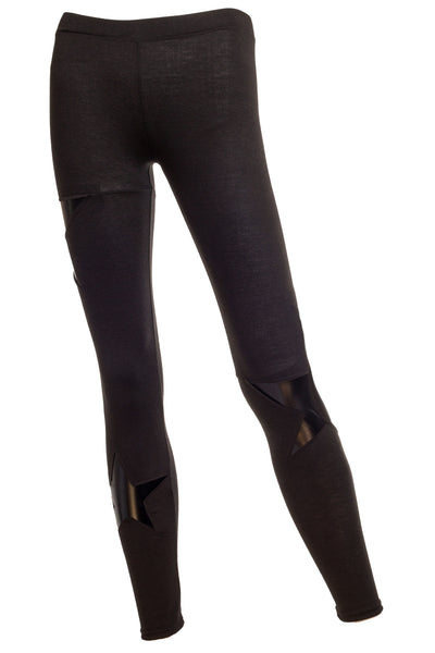 Starr Combo faux leather and jersey star patch leggings