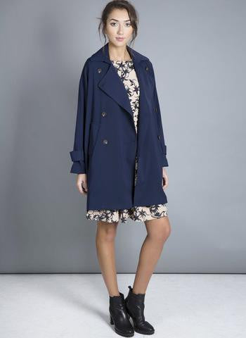 One O Eight - Oversized Navy Trench Coat