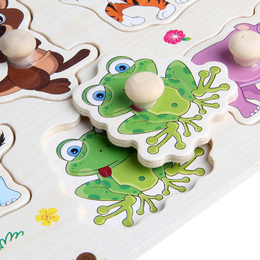 Wooden Peg Puzzle Baby Children Cartoon Animals Educational Early Learning Toy