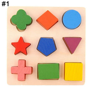 Kids Baby DIY Wooden Jigsaw  Learning Geometry Educational Toys Puzzle Montessori