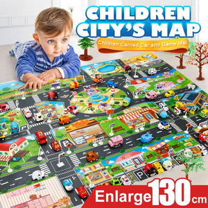 City map with cars