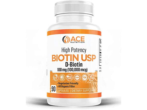 High Potency Biotin USP (D-Biotin) 100mg (100,000mcg)