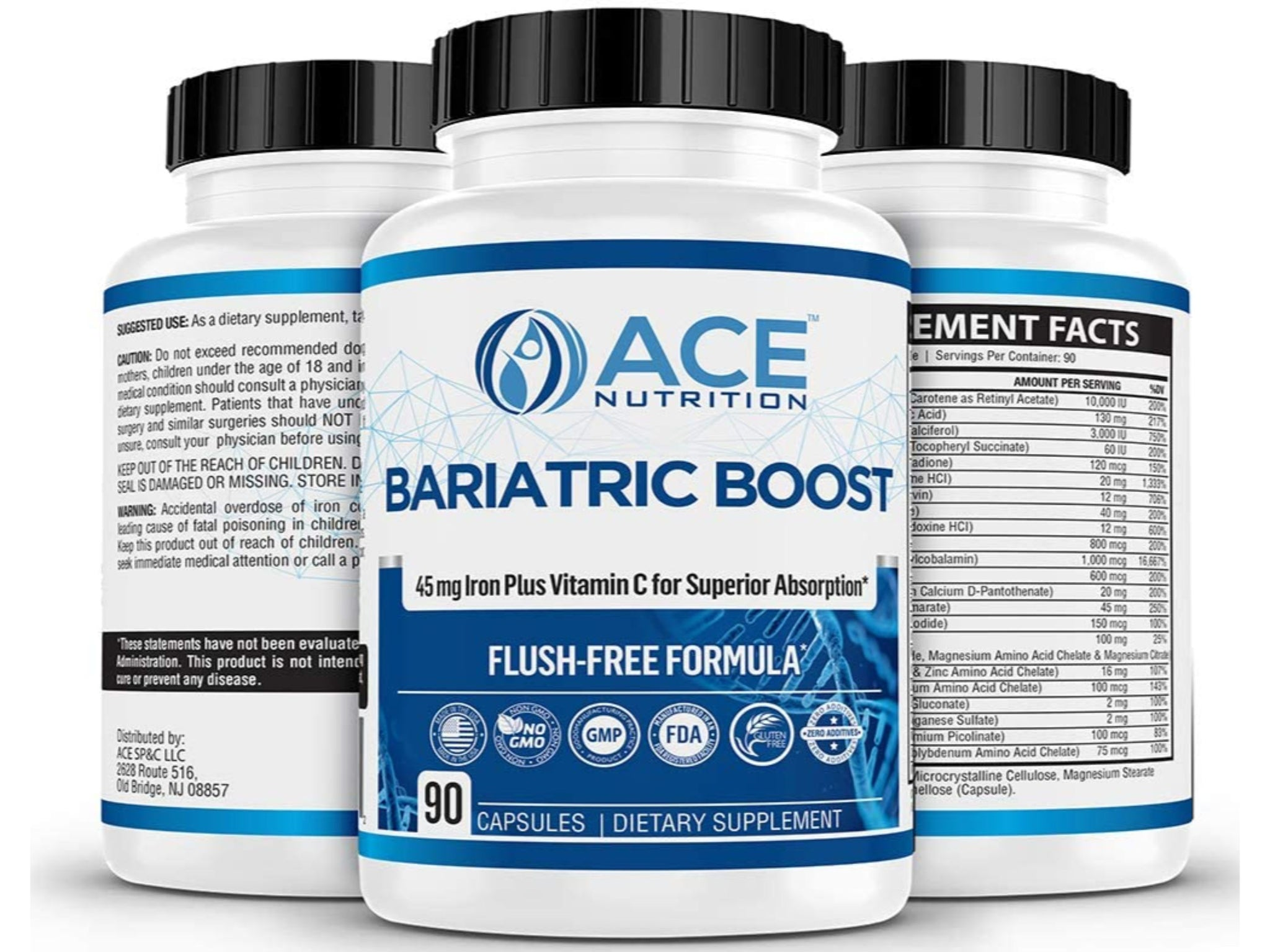 Bariatric Boost One-A-Day Multivitamin 90 Day Supply with 45mg Iron