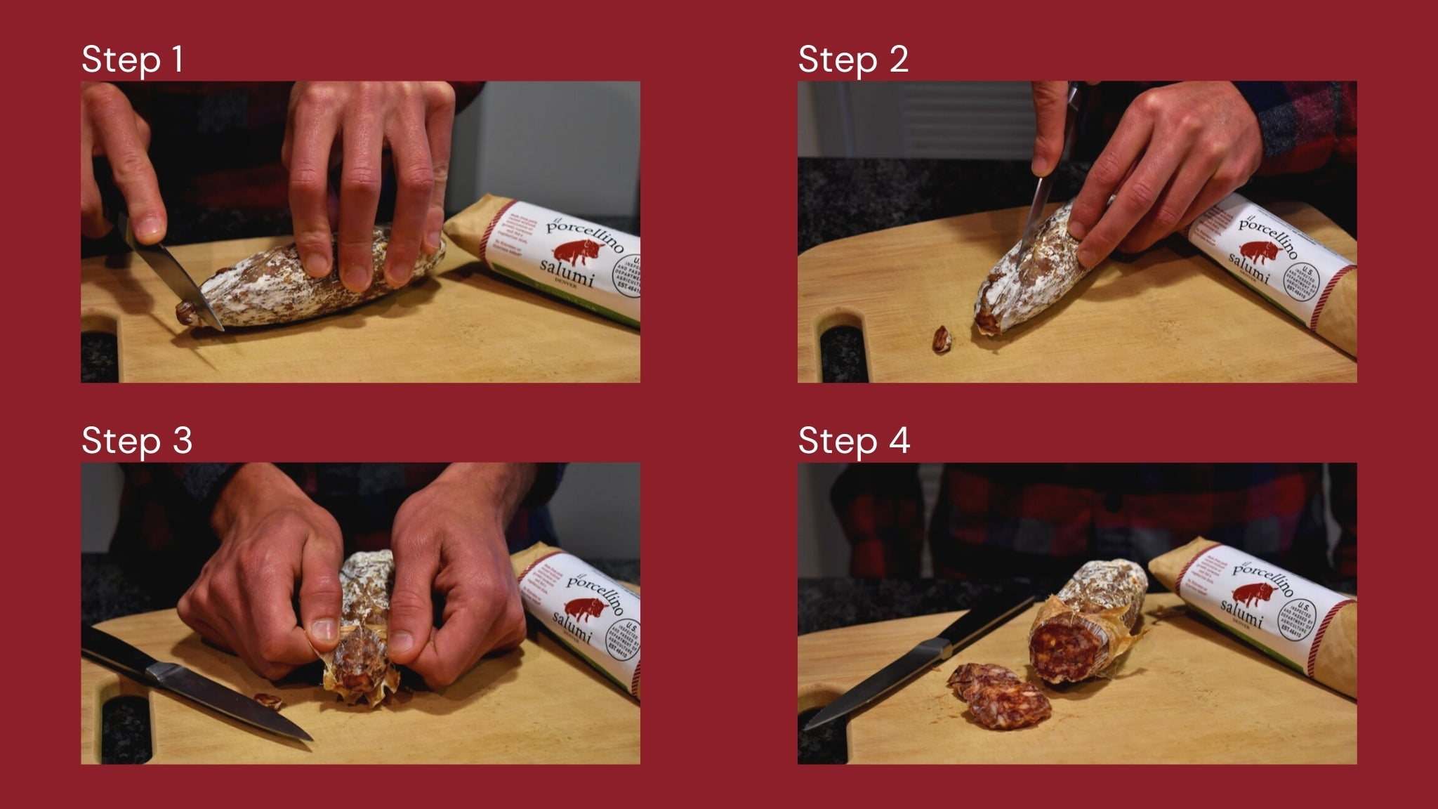 An image showing four pictures of someone cutting salami. Each picture shows a different step to remove the salami casing and end with cutting salami slices for eating.