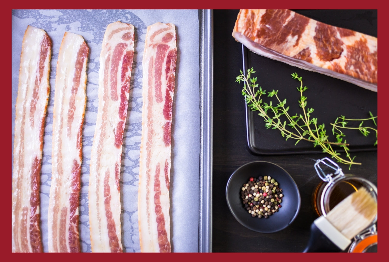 Bacon strips on a baking sheet lined with parchment paper to show how the bacon is prepared to cook in the oven.