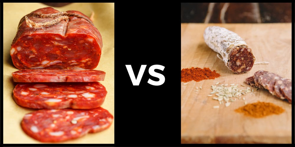 An image with a flattened soppressata salami on the left and a cylindrical salami on the right to show the difference between their shapes.