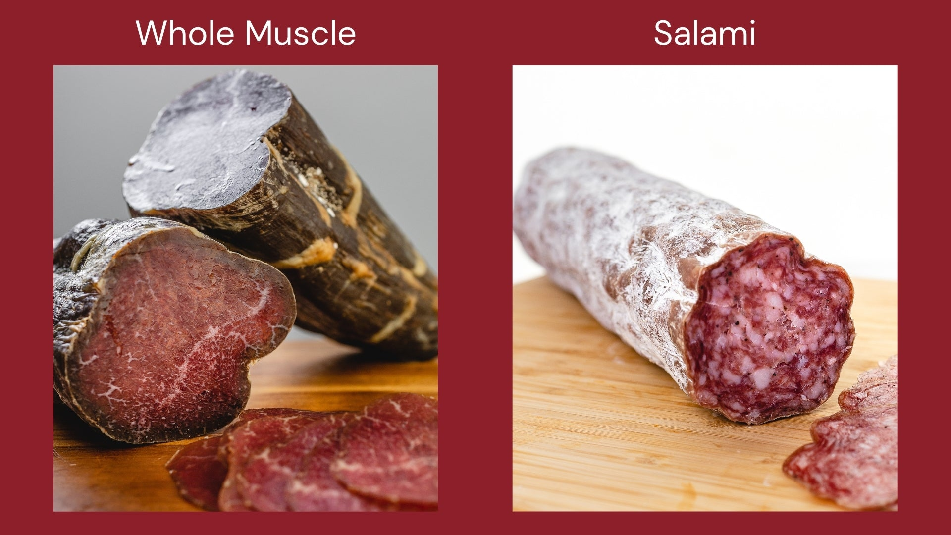 An image with pictures of whole muscle beef bresaola and a chub of salami to show the difference between the two cured meats.