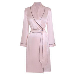 Blush Dressing Robe with Contrast Piping