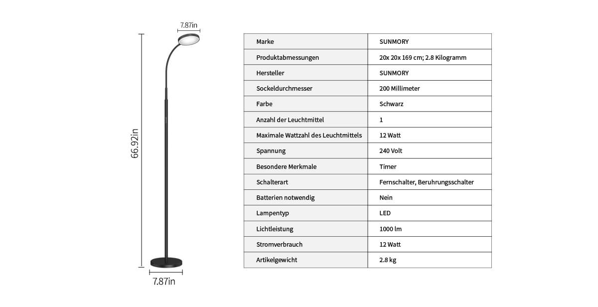 led floor lamp specification
