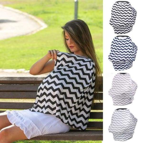 Stylish Chevron Nursing and Car Seat Cover - baby