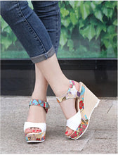 Load image into Gallery viewer, Floral high heel women sandals