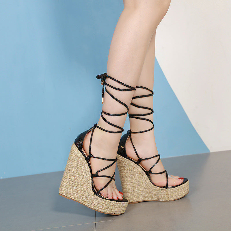 Roman sandal wedge with high heel strappy shoes