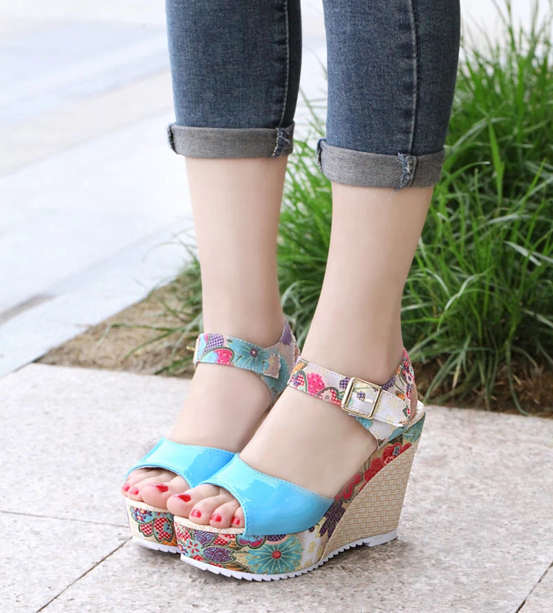 Floral high heel women sandals