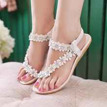 Load image into Gallery viewer, Flat bottom flower rhinestone boho female sandals foreign trade large size shoes