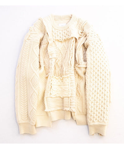 【stein】OVERSIZED INTERLACED CABLE KNIT LS
