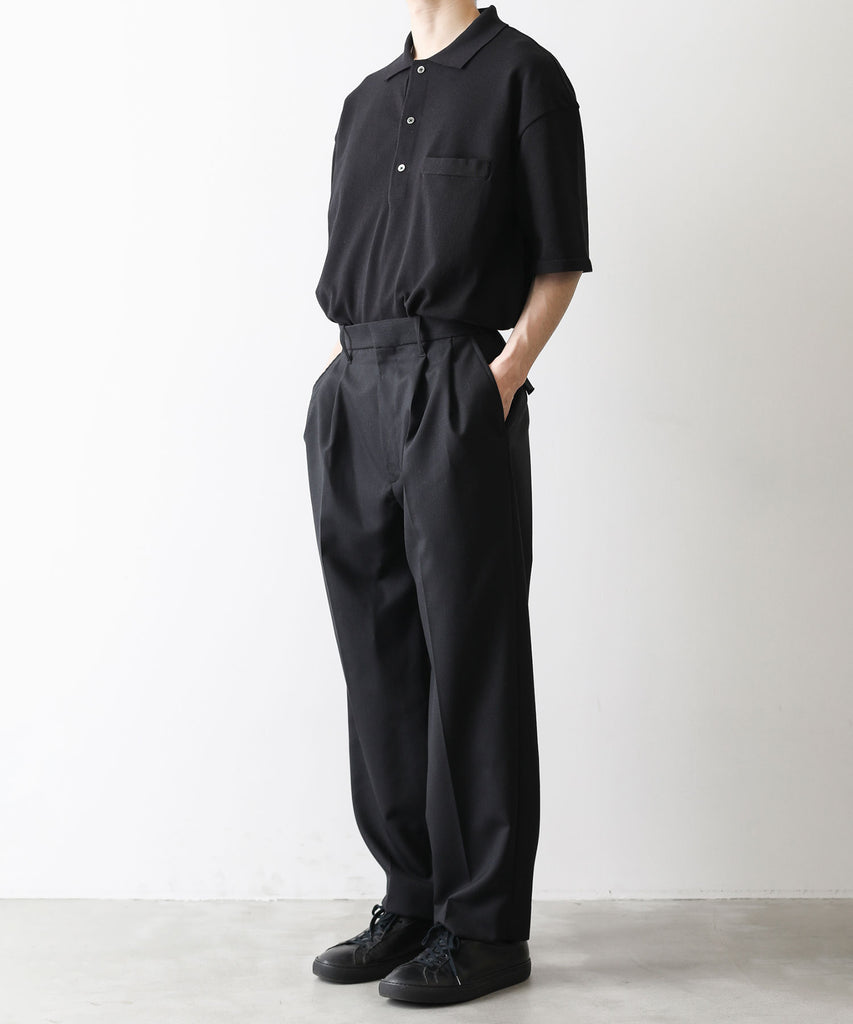 stein シュタイン session 通販 21ss 21aw ST.242 HIGHLY DENSED KNIT POLO SHIRTS BLACK