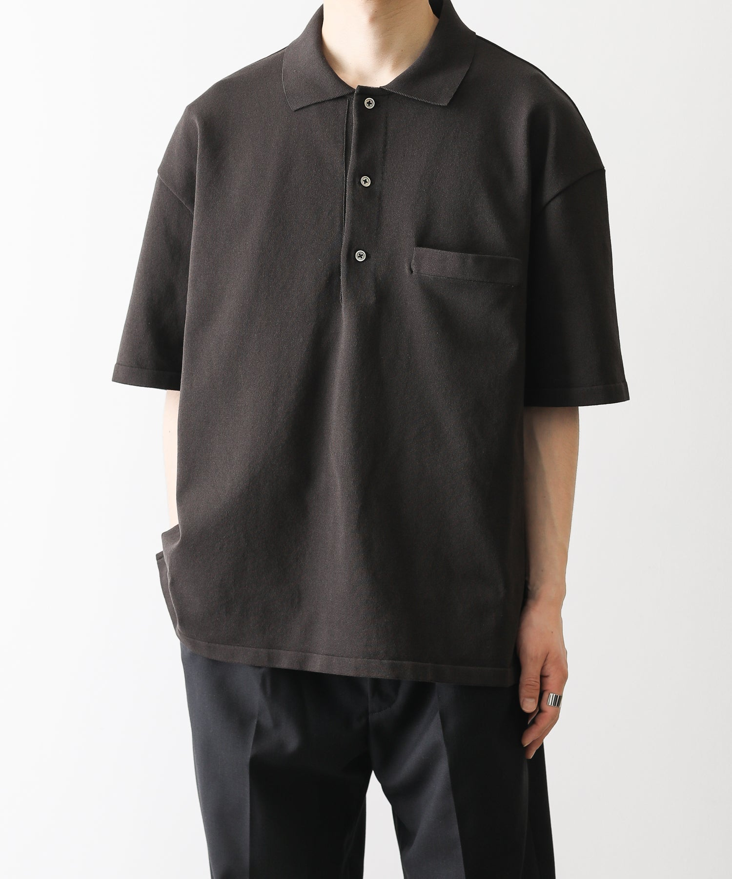 【stein】HIGHLY DENSED KNIT POLO SHIRTS