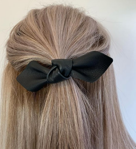 Leather Bow Hair Tie - Large