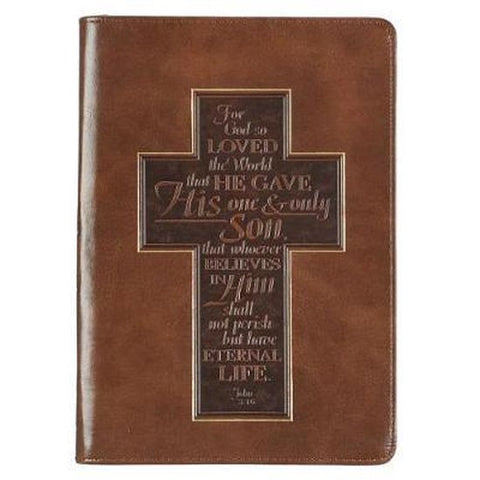 Luxe Leather Journal - met rits 'For God so loved....'