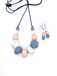 Necklace and Earrings / Silicone Necklace / Gift Set Her / New Mum Gift