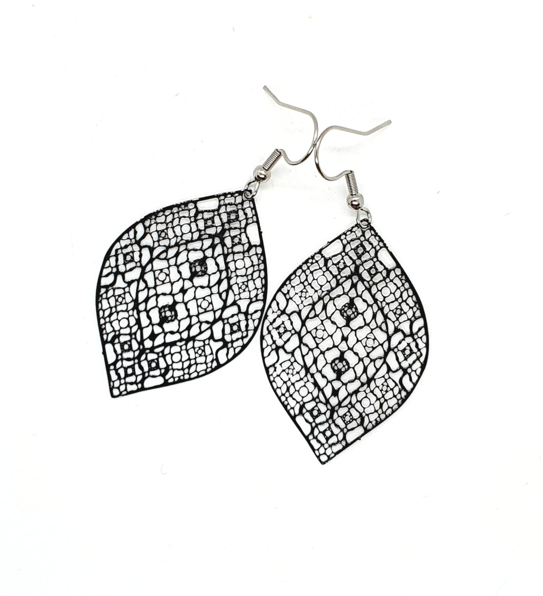 Black Filigree Leaf Earrings