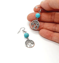 Load image into Gallery viewer, Tree of Life Earrings / Turquoise Earrings / Silver Dangle Earrings