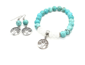 Tree of Life Turquoise Bead Bracelet and Earrings