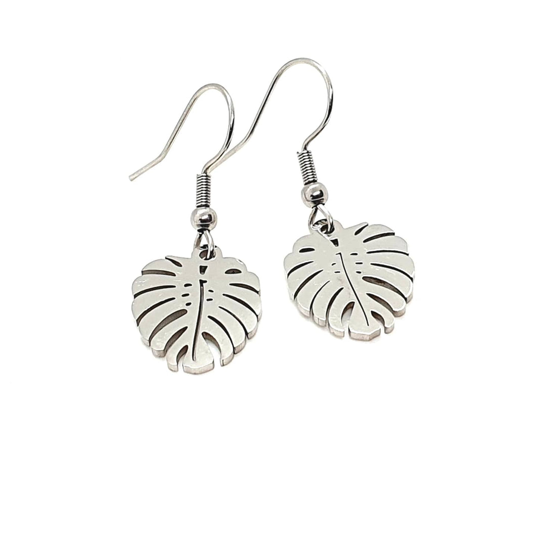 Monstera Earrings / Leaf Earrings / Stainless Steel Earrings