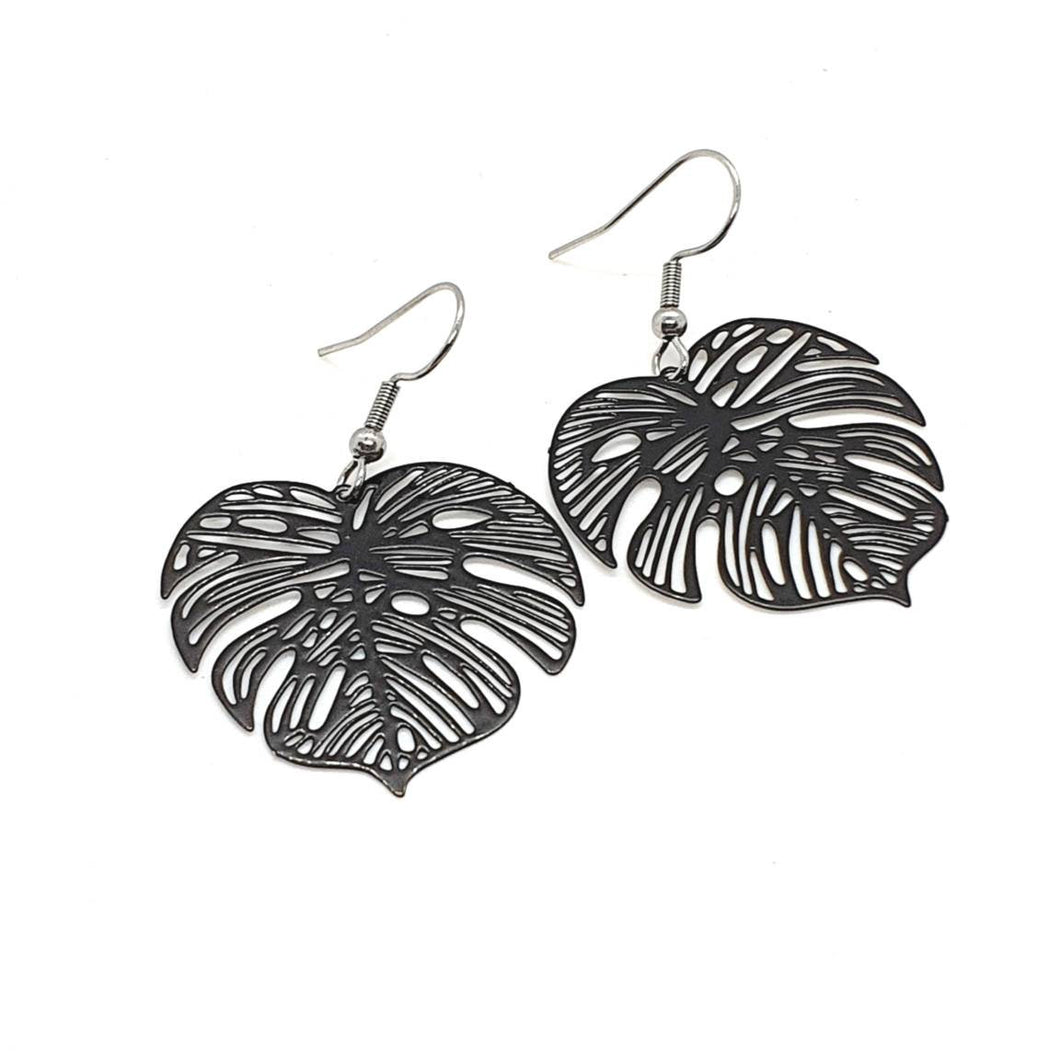 Black Monstera Leaf Earrings / Black Earrings