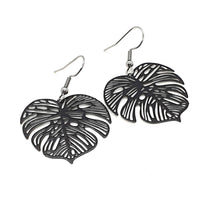 Load image into Gallery viewer, Black Monstera Leaf Earrings / Black Earrings
