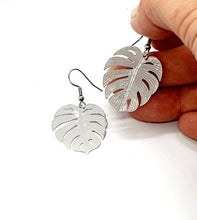 Load image into Gallery viewer, Silver Leaf Earrings  / Monstera Plant / Statement Earrings