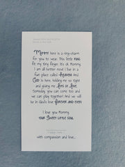 """Sweet Little Soul Baby Ring"" on Curb Bead Chain/ Poem Card"