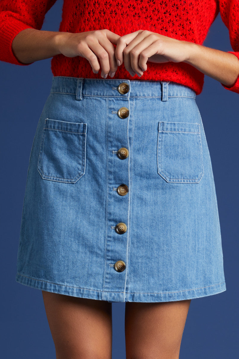 King Louie Garbo Mini Skirt Canyon Denim