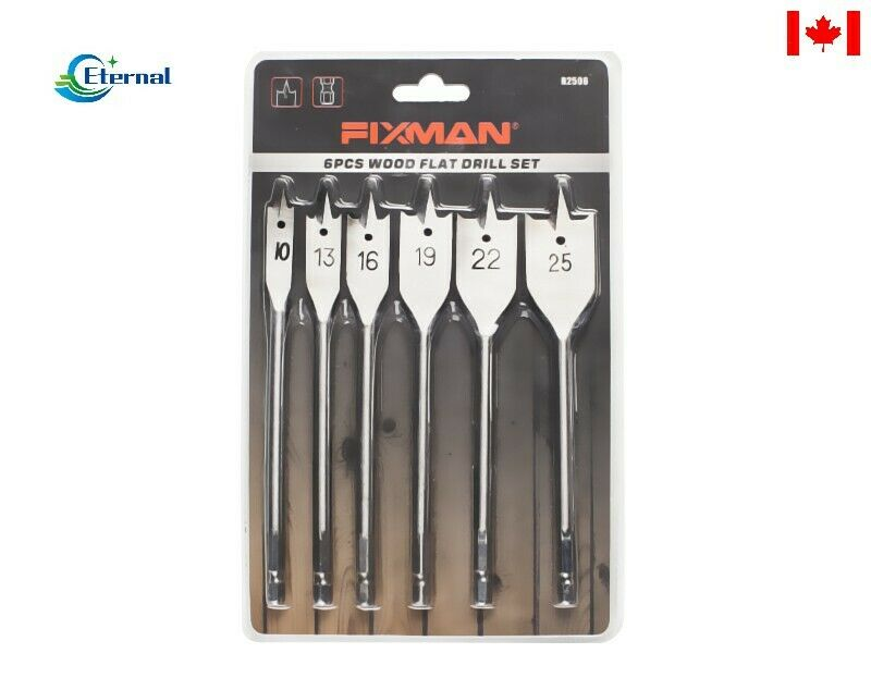 6PC Wood Spade Bit Set 45#Steel,Nickel Plating,Double Blister Card