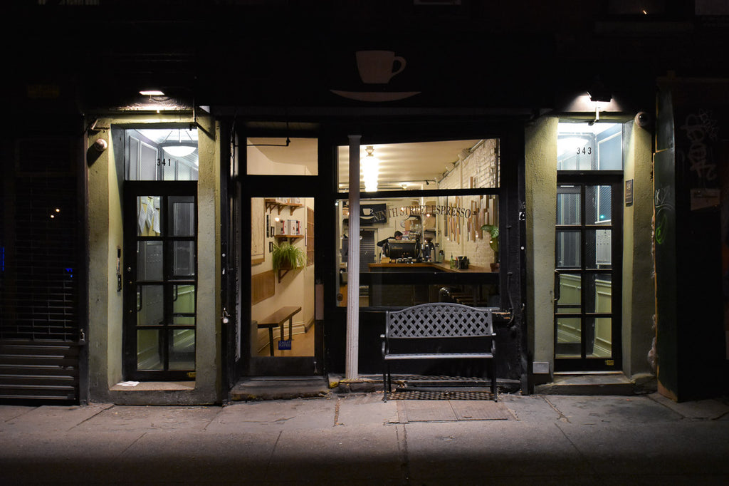 Photo of Ninth Street Espresso on 10th Street, across the street from Tompkins Square Park.