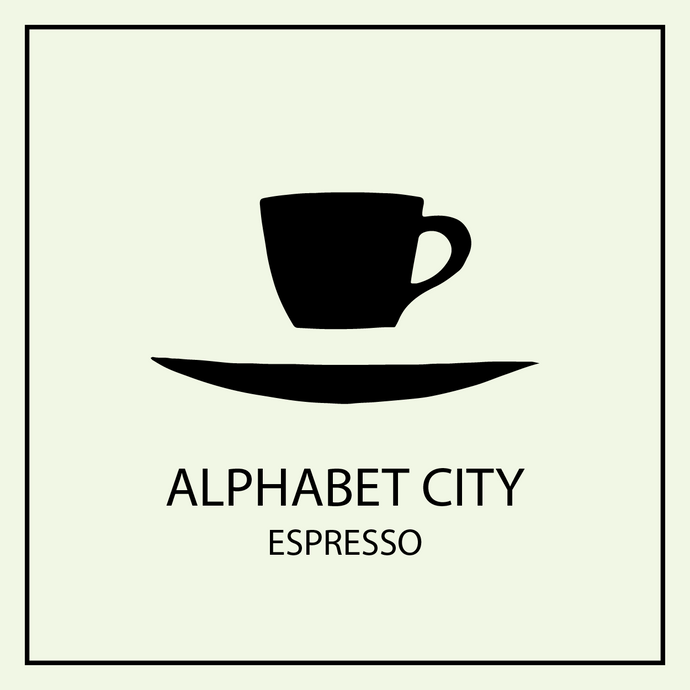 Floating cup and saucer logo with Alphabet City Espresso coffee avatar.