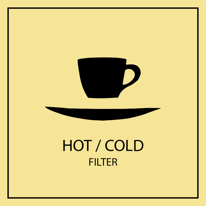 Floating cup and saucer logo with Hot/Cold filter coffee avatar.