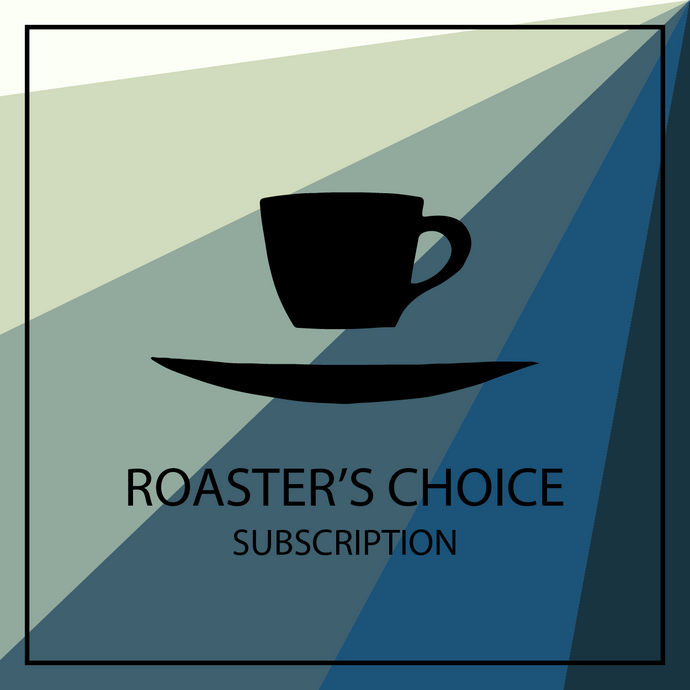 Ninth Street Espresso floating cup and saucer logo with roaster's choice subscription avatar.