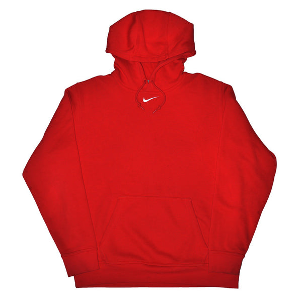 Vintage Nike Centre Swoosh Hoodie Red - Medium