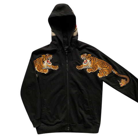 Maharishi Embroidered Tiger Zip-Up Hoodie - Large