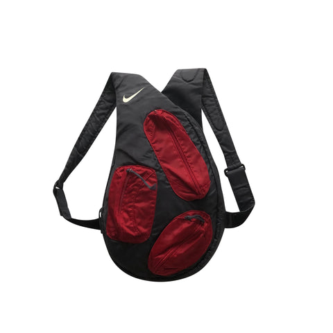 2000s Nike Multi Pocket Sling Backpack - Grey/Red