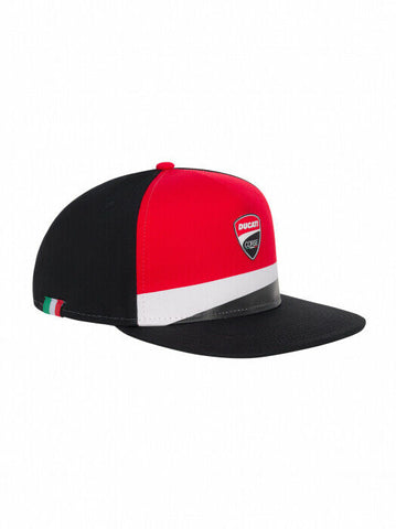 Official Ducati Corse Badge Flat Visor Black Cap - 20 46006