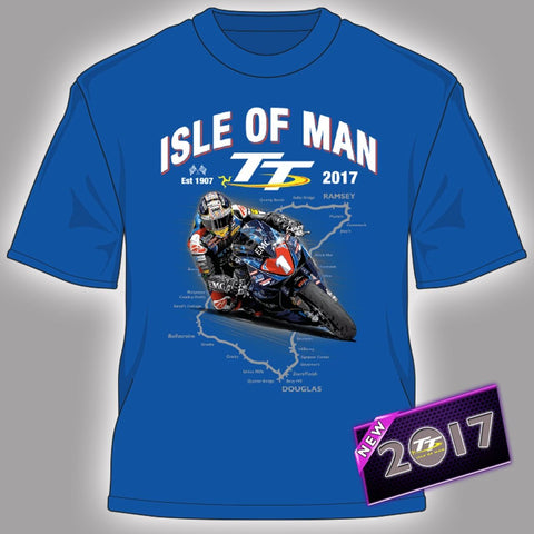 2017 Official Isle of Man TT Races Kid's Blue Course T'Shirt
