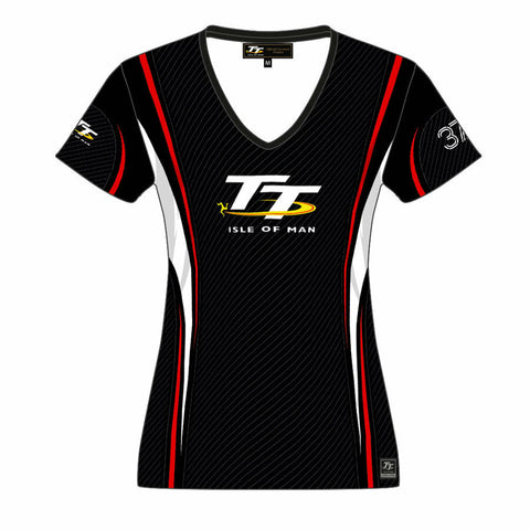 Official Isle of Man TT Logo Striped Woman's T'Shirt - 17LAOP2