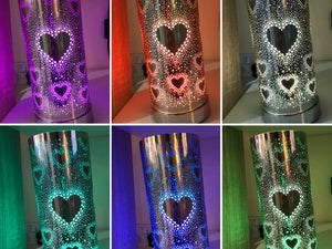 Colour Changing LED Silver Metal Heart Silhouette Electric Burner