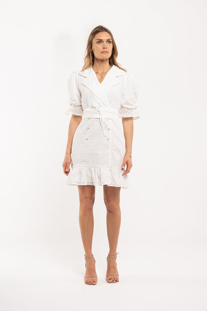 English embroidery mini dress - White - CARSI Collection
