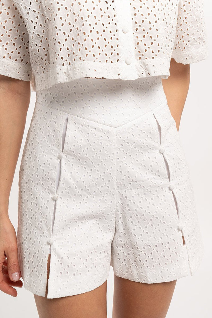 English embroidery shorts - White - CARSI Collection
